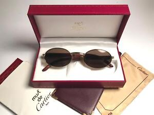09719fa672 VINTAGE CARTIER GIVERNY GOLD   WOOD 5320 FULL SET BROWN LENS FRANCE  SUNGLASSES