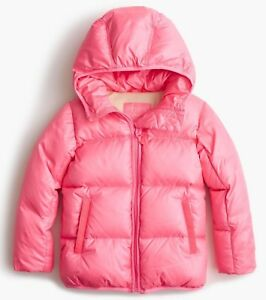 J.Crew Crewcuts Girls' marshmallow puffer jacket Tropical PINK size 14 F4383
