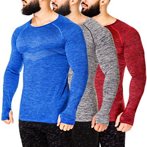 Kamo Fitness Long Sleeve Activewear T-Shirt for Men with Fast Drying and Small