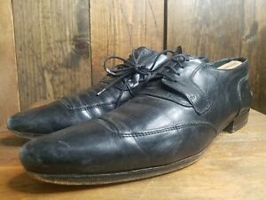 Authentic Dolce & Gabbana Black Genuine Leather Men's Dress Shoes Designer SZ 44