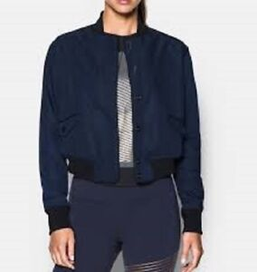 UNDER ARMOUR Bomber Jacket Cropped Storm Blue Black Loose 1294931 Womens L $200