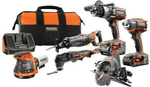 Exclusive RIDGID 18V Lithium-Ion Cordless 6-Piece Combo Kit Battery Charger Bag