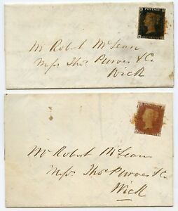 1841 covers 1d black pl 5 + 1d red-brown pl 8 from Watten Caithness Maltese X