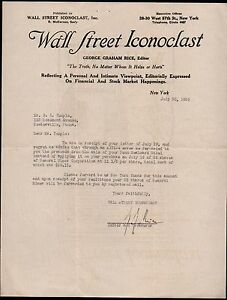 George Graham Rice signed Wall Street Iconoclast New York 1926  Letter Head Rare