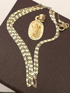 Real 14k Yellow Rose Gold Religious Virgin Mary Charm Pendant + Gucci Chain 20