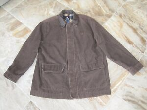 Ralph Lauren CHAPS Mens Large Brown Corduroy Field Jacket Flannel Leather Collar