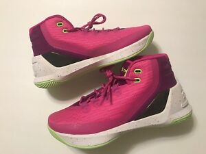 New Under Armour UA Steph Curry Girls  Basketball Shoes Pink Purple Sz 6 12Y