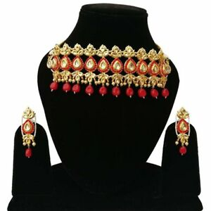 Indian Meena Kundan Traditional Red Choker Necklace Earrings Ethnic Jewelry Set
