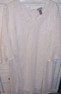 Catherines Plus 4X (30-32W) WHITE ALL OVER LACE Cocktail Party Dress NWT