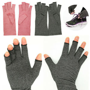 Grey Pink Compression Joint Finger Pain Relief Gloves Hand Wrist Support Brace C $5.28