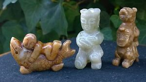 Group of Three Old Nephrite Jade Amulets Fish-Boy-Dragon Man Extra Fine Carving.