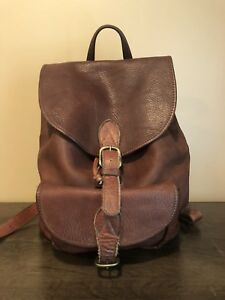 VTG M LONDON Brown Saddle Leather Briefcase Backpack Made in USA