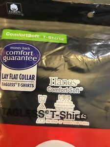 NWT SUPREME AUTHENTIC HANES TAGLESS Pack of 3 TEE SHIRTs Color: Black Size: L