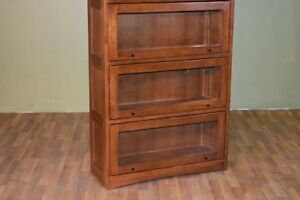 Mission Style Quarter Sawn White Oak 5 Stack Barrister Bookcase with Leaded Glas