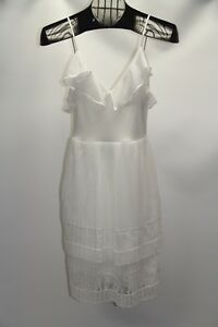 New French Connection Women's Size 0 White Adanna Chiffon Lace Cocktail Dress