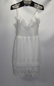New French Connection Women's Size 8 White Adanna Chiffon Lace Cocktail Dress