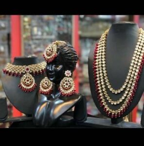 Padmavat  Red Pearl Studd Necklace Earring Choker Set Indian Bollywood Jewelry