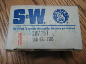 S & W 38357 SWC 100 Bullets Box - Reloading - Smith & Wesson - EMPTY