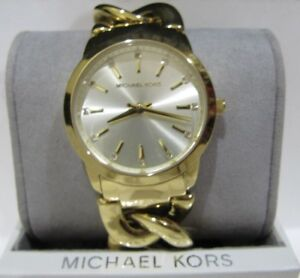 Michael Kors Women's Elana Watch Gold Tone Stainless Chain Bracelet MK3608 $250