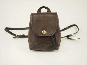 COACH Authentic 9960 Brown Leather Small Turnlock Backpack