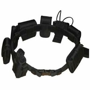 Complete Police Tactical Belt Set w 9 Removable Gun Holster & Accessory Pouches