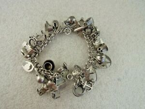 Loaded Vintage Sterling Silver Charm Bracelet and Charms