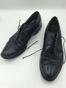 ALLEN EDMONDS Vintage Black Leather Sz 10.5 C Men Dress Shoes Designer Rare VTG