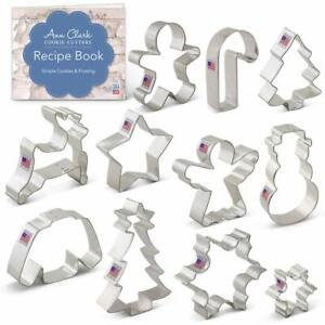 Winter Christmas Cookie Cutter Set with Recipe Book - 11 Piece - Snowflake Sw...