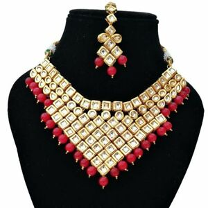 Indian Kundan Traditional Red Choker Necklace Earrings Tikka Jewelry Set