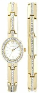 Elgin Women's Crystal Accented Dress Watch And Bracelet Set EG8089ST