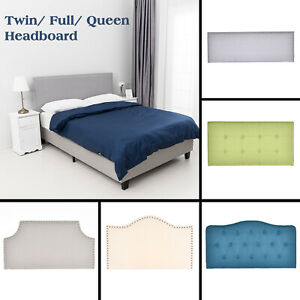 TwinFullQueen Size Linen Fabric Tufted Upholstered Headboard Height Adjustable