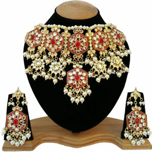 Indian Kundan Red Traditional Choker Necklace Earrings Ethnic Jewelry Set 1