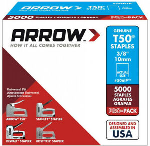 Heavy Duty Staples 3/8 Inch Medium Crown 18 Gauge Home DIY Projects 5000 Count
