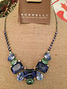 Sorrelli Lavendar Mint Purple Green Bib Statement Necklace