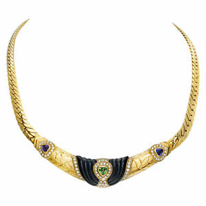 Black onyx peridot and royal topaz heart necklace with diamond accents in 18k