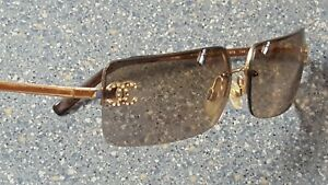 Chanel Gold Rimless Square Fashion Model Designer Sunglasses Made in Italy Rare
