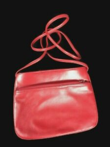 Giani Bernini Small Red soft Leather crossbody Bag Handbag !