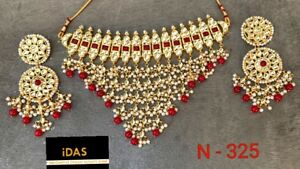 Indian Kundan Bollywood Ethnic Red Choker Necklace Earring Jewelry Set Women