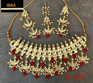 Indian Kundan High Quality Ethnic Red Choker Necklace Earring Tikka Jewelry Set