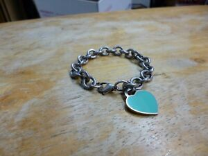 Tiffany & Co Sterling Silver 925 Chain Link Bracelet with a Heart Pendant Charm