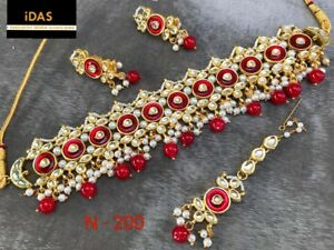 Indian Kundan Jewelry Gold Plated Choker Necklace Earrings Tikka Set Red ES7