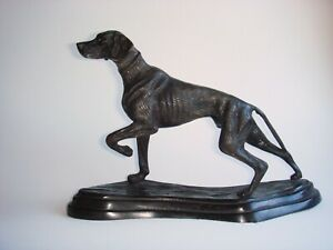 Large Old Bronze Hunting Dog  Statue