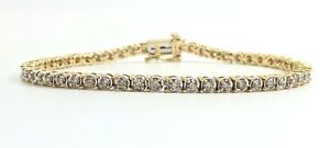 10K Gold Solid 2.20ctw Diamond Tennis Bracelet 7.25