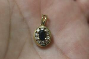 14K Yellow Gold Oval design Diamond Sapphire Charm Pendant ONLY for Necklace