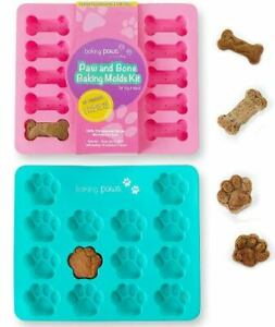 3-Pack Silicone & Metal Dog Paw and Bone Molds  Cookie Cutters Biscuit Ann Clark