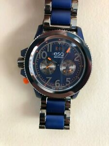 ESQ Movado Fusion Two-Tone Watch with Blue Dial and Blue Bracelet 07301451