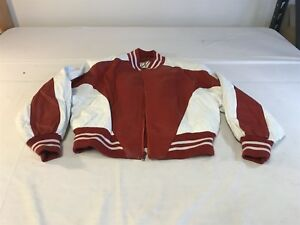 WILSON'S Ladies Red & White 100% Authentic Leather Bomber Style Jacket - Size L