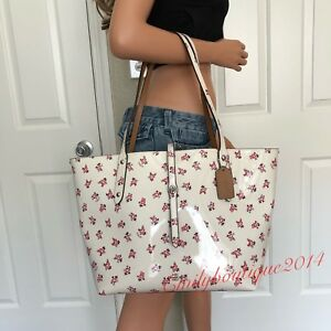 NWT COACH FLORAL BLOOM PATENT LEATHER MARKET TOTE SATCHEL SHOULDER BAG HANDBAG