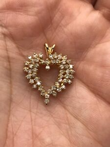 14K Yellow Gold Round Diamond Heart Love Pendant for Necklace