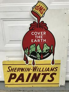 Rare Sherwin Williams Paint SWP Double Sided Porcelain Flange Sign 1950's-60's